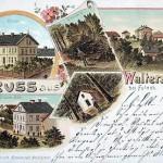 Pohlednice obce Vrchy s Čertovou kaplí a poustevníkem