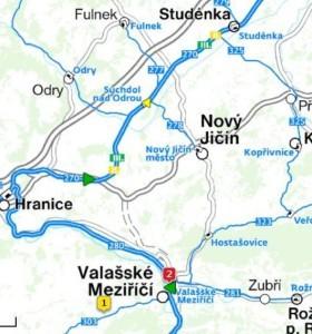 Fulnek-Suchdol n. O., dále oklikou přes Hranice do Val. Meziříčí