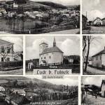 Pohlednice - dnešní Pohostinství u Jindřicha, Obecná škola, kostel, mateřská škola, fojtství, zdroj: Břetislav Hoš