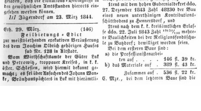 Historie: Zmínka o nájemci pivovaru 1844